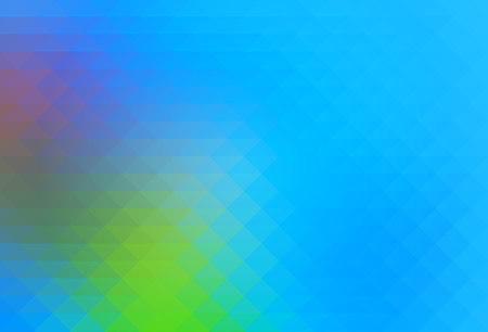 Blue green red abstract geometric background with rows of triangles