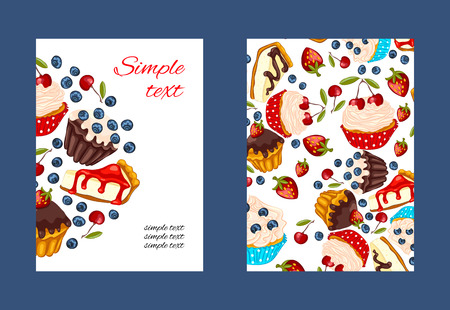 cupcake illustration: Cupcake promo card set with colorful illustrations.