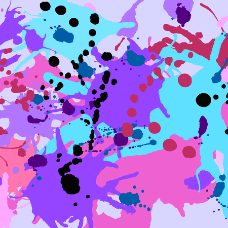Turquoise purple pink black ink paint splashes colorful pattern