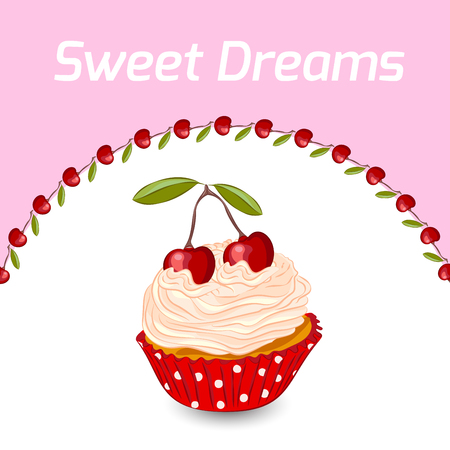 Cupcake with whipped cream and cherry. Illustration