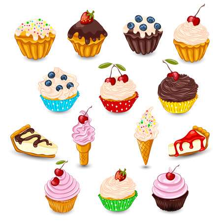 cupcake illustration: Set of cupcake, muffin, cheesecake, ice cream with fresh berries isolated on white. Sweet desserts as unhealthy food concept.