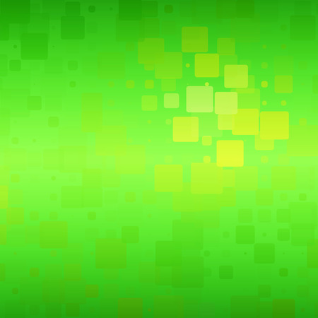 Green yellow brown shades vector abstract glowing background with random sizes rounded tiles square