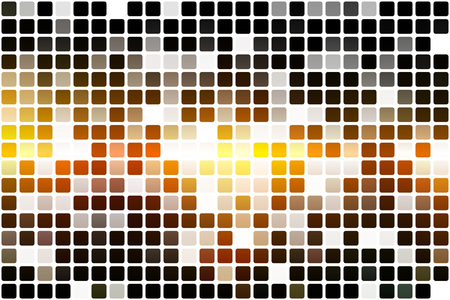 Black orange yellow occasional opacity vector square tiles mosaic over white  background