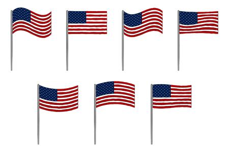 アメリカの国旗セット白で隔離。7 月 4 日独立記念日のベクトルの背景  イラスト・ベクター素材