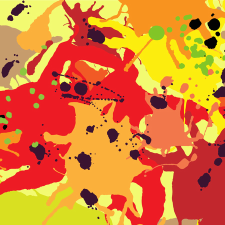 Red orange maroon ink paint splashes vector colorful background Illustration