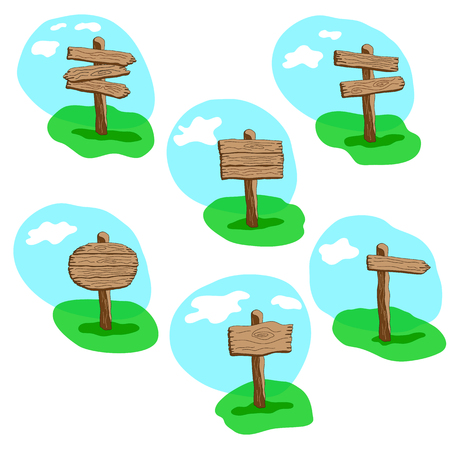 Set of cartoon style  vector wooden sign standing in grass. Round, arrow and square shapes blank wooden signpost collection