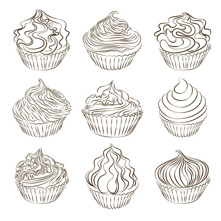 Set of vector hand drawn cupcake sketch isolated on white.