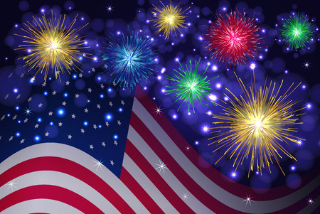 American flag and celebration sparkling fireworks vector background. Independence Day, 4th of July holidays salute.