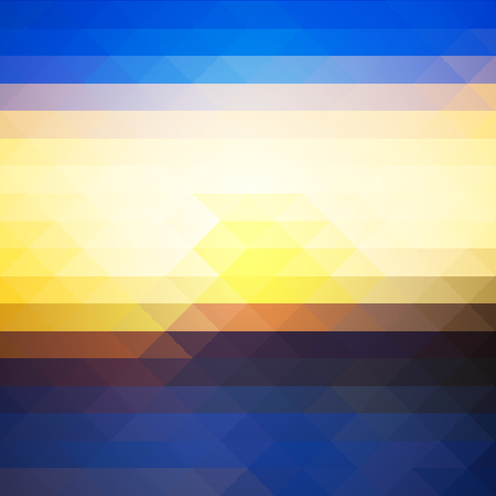 pixelated: Blue yellow orange black abstract geometric background with rows of triangles, square