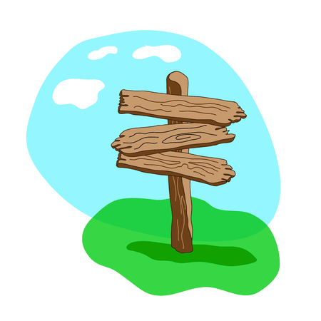 Cartoon style  vector wooden sign standing in grass. Three arrow shapes blank wooden signpost
