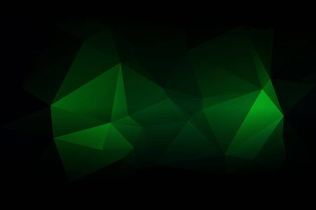 Glowing Neon Green Abstract Low Poly Geometric Background