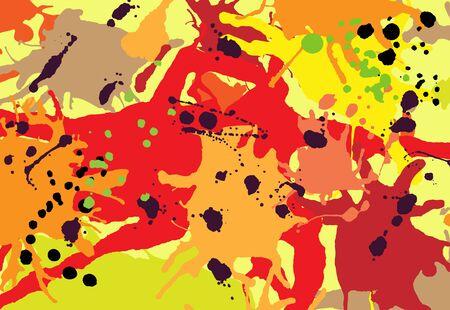Red orange maroon ink paint splashes colorful background