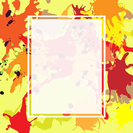 semitransparent: Red orange maroon artistic ink splashes background. Greeting card or invitation template with semi-transparent rectangle frame for text