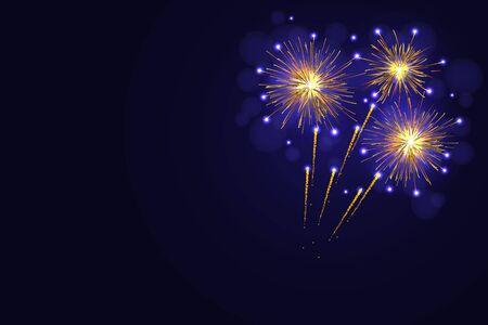 golden dusk: Celebration amazing golden yellow fireworks over night sky.  4th of July Independence Day, New Year holidays background Stock Photo