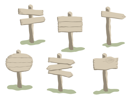 plywood: Set of cartoon style  vector weathered wooden sign. Round, arrow and square shapes blank wooden signpost collection Illustration