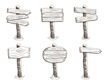 Set van schets stijl vector houten teken staande in gras. Hand getrokken ronde, pijl en vierkante vormen lege houten wegwijzer collectie