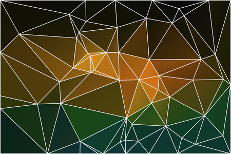 diamond texture: Brown orange green abstract low poly geometric background with white triangle mesh. Illustration