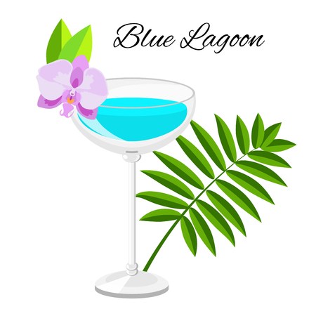 lagoon: Summer long drink isolated on white for restaurant, bar menu or beach party banner