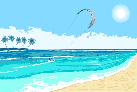 Kitesurfing watersport estivo sullo sfondo del mare tropicale con isola e palme.
