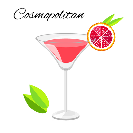Popular Cosmopolitan cocktail vector cartoon style. Summer long drink isolated on white for restaurant, bar menu or beach party banner and flyer