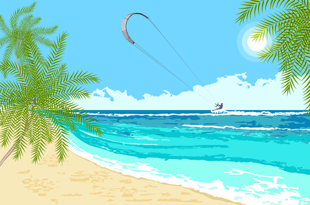 Seaside landscape with palms and sea kite. Kitesurfing summer watersport on tropical sea background.