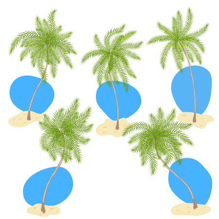 Set of vector cartoon style palm trees with sand and blue sky isolated on white