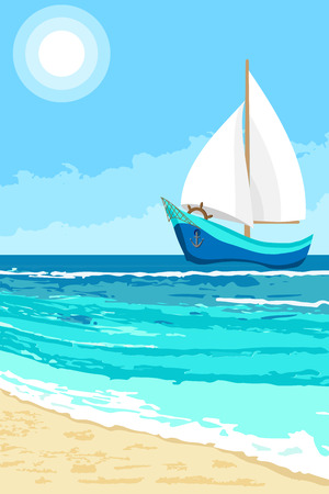 Summer landscape with cartoon sailboat. Seaside background for flyer, banner, greeting card and invitation Vectores