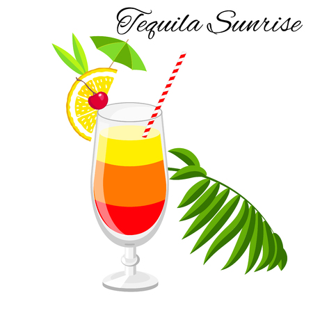 Tequila sunrise cocktail vector cartoon style. Summer long drink isolated on white for restaurant, bar menu or beach party banner and flyer