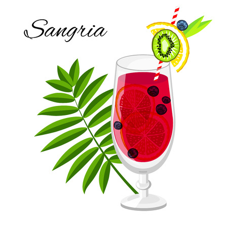 サングリア フルーツ カクテル漫画スタイル。レストラン、バーのメニューまたはビーチの党旗やチラシの白で隔離夏長い飲み物 写真素材
