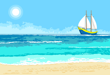 Summer sea view with cartoon sailboat. Seaside background for flyer, banner, greeting card and invitation