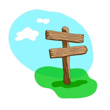 Cartoon style  wooden sign standing in grass. Two arrow shapes blank signpost