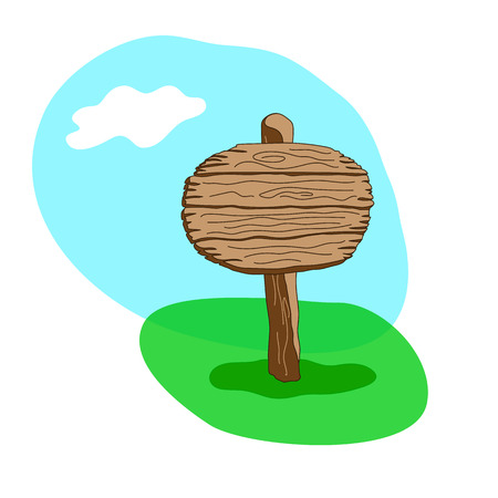 Round cartoon style wooden sign standing in grass.