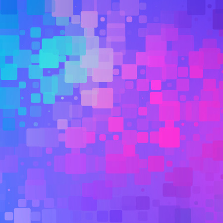 Blue purple magenta pink turquoise vector abstract glowing background with random sizes rounded tiles square