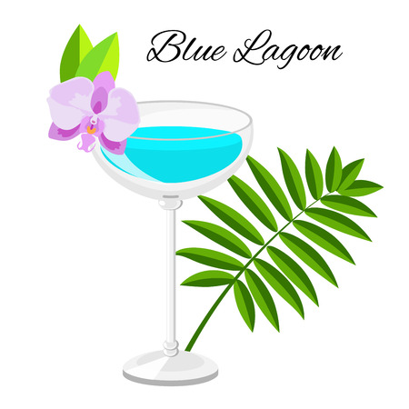Blue Lagoon cocktail cartoon style. Summer long drink isolated on white for restaurant, bar menu or beach party banner and flyer