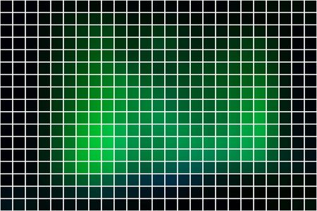 Glowing neon green abstract square tiles over white mosaic background