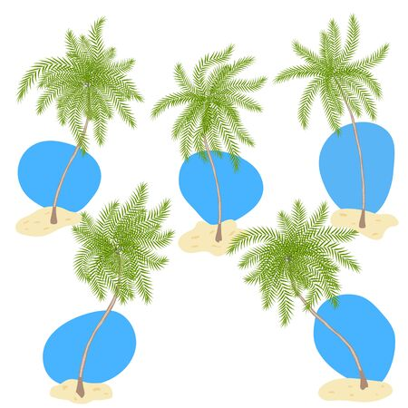 Set of cartoon style palm trees with sand and blue sky isolated on white