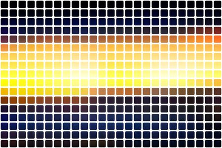 Blue yellow orange black abstract mosaic background with rounded corners square tiles over white