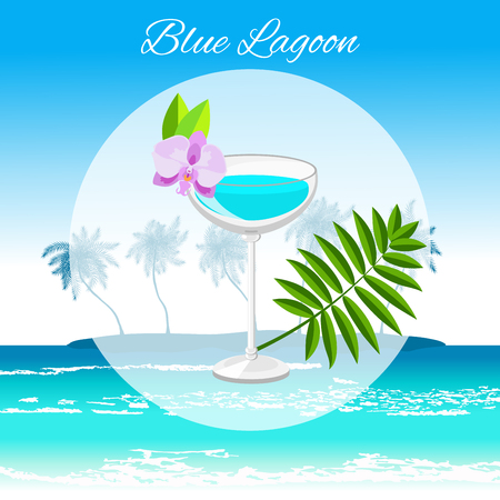 Blue Lagoon cocktail vector cartoon style on the seaside background. Summer long drink isolated on white for restaurant, bar menu or beach party banner and flyer