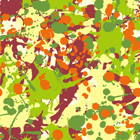 Maroon orange yellow green artistic ink paint splashes seamless pattern vector
