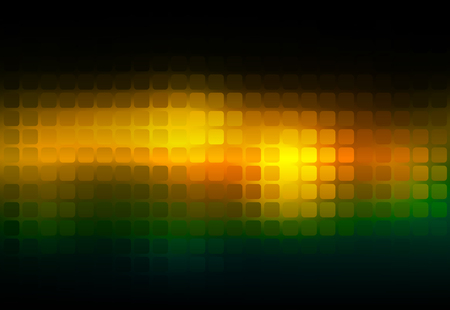 Brown orange green vector abstract rounded corners square tiles mosaic over blurred background