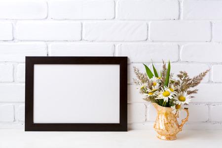 Black Brown Landscape Frame Mockup With White Field Chamomile