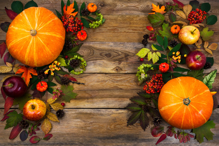 Thanksgiving  greeting with pumpkin, apples, autumn leaves and berries on wooden table. Fall background with seasonal vegetables and fruits, copy space Stock Photo