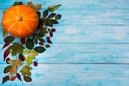 Happy Thanksgiving greeting with bright autumn leaves on the left side of blue wooden table. Fall background, copy space