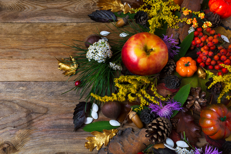Thanksgiving decoration with pumpkin, apples, oaks, berries and flowers on wooden table. Fall background with seasonal berries and fruits Stock Photo