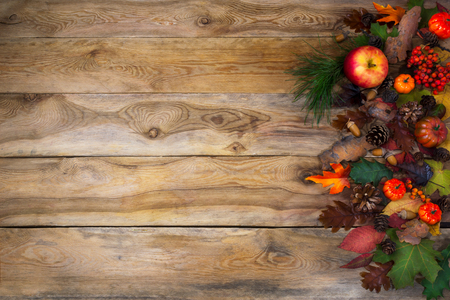 Rustic Thanksgiving  greeting card with pumpkin, apples and cones on the right side of old wooden table. Fall background with leaves and berry