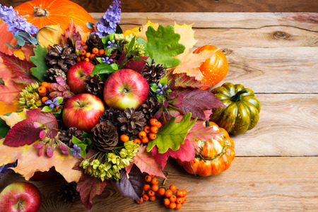 Thanksgiving or fall greeting with ripe apples, rowan berries, green seeds on the rustic background Stock Photo