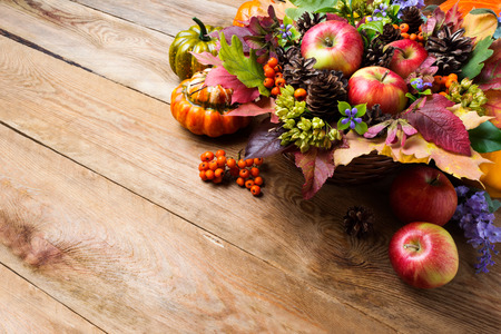 Thanksgiving or fall greeting with apples, rowan berries, green seeds, cones, blue flowers on the wooden background, copy space