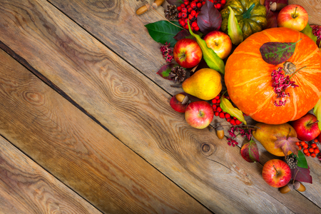 Thanksgiving greeting background with pumpkin, apples, pear, rowan berries and colorful leaves, copy space. Stock Photo