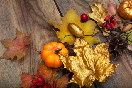 Thanksgiving arrangement with golden leaves, acorns and pumpkins on the wooden table Stock Photo