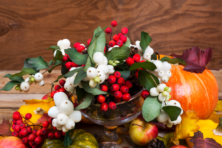 Thanksgiving or fall background with snowberry and rowan berries, pumpkin, apples, cones table centerpiece Stock Photo